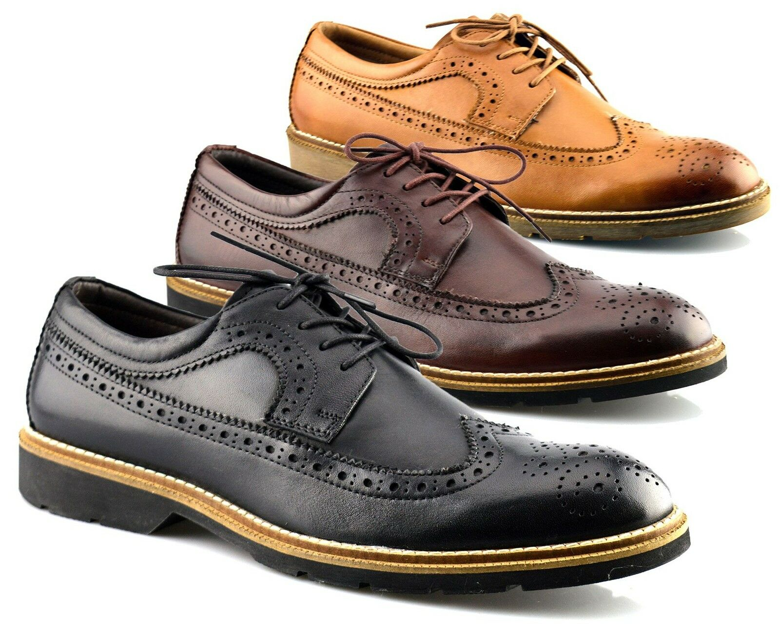 Mens shoes Leather Flexible Memory Foam Formal Lace Up Brogues Dress Size