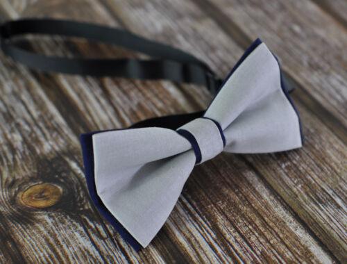 Boy Teenage 100/% Cotton Grey Navy Blue Bow Tie Bowtie Wedding 7-14 Years Old