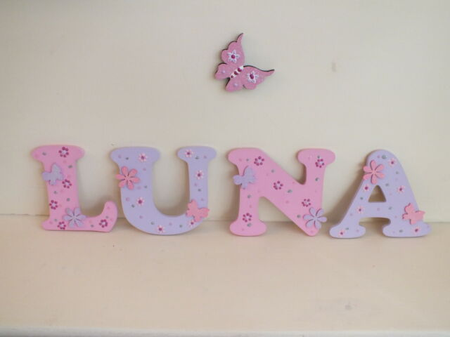 """Girls 4.5"""" Pink & Lilac Hand Made Wooden Capital Letters Door/Wall sign"""