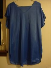 UndercoverWear Blue Dolman Sleeve Side Slit V-neck Plus Short Nylon Nightgown