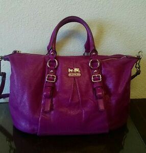 987f3edf8b7bf COACH 21222 Madison Juliette Magenta Leather Satchel Shoulder Bag ...