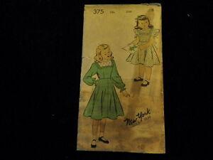"Vtg Girl's Ruffled Pinafore Dress Pattern New York 375 26"" breast size 8   P11"