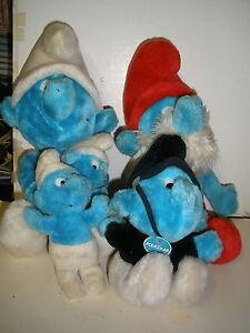 Lot Of 4 Vintage Smurfs Smurf Plush 1980s Policeman Papa Ebay