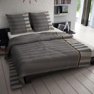 et rea microfaser bettw sche grau anthrazit streifen gestreift neu ebay. Black Bedroom Furniture Sets. Home Design Ideas