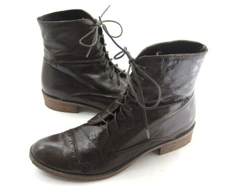 CHARLES DAVID WOMEN'S RANDSOM ANKLE BOOTS DISTRESSED BROWN LEATHER SZ 6 EUR 37.5