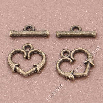 "10 Sets Antique Bronze Heart Shape ""OT"" Toggle Clasps Jewellery Making S301T"