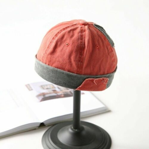 Rolled Cuff Men Skullcap Caps Cotton Sailor Brimless Hat Hip Hop Retro Beanie