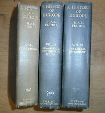 * 3 HISTORY OF EUROPE BOOKS by H A L FISHER * UK FREE POST * HARDBACKS *