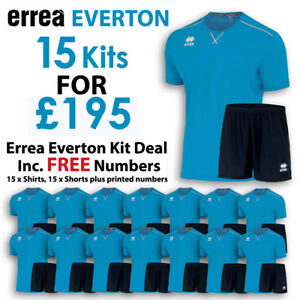 Errea Everton 15 Kit Deal - Fluo Blue and Black - Includes FREE ... 460f454d5