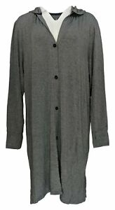 Cuddl Duds Women's Plus Sz Sweater 2x Softwear Hooded Cardigan Blue A368062 Pleasant To The Palate