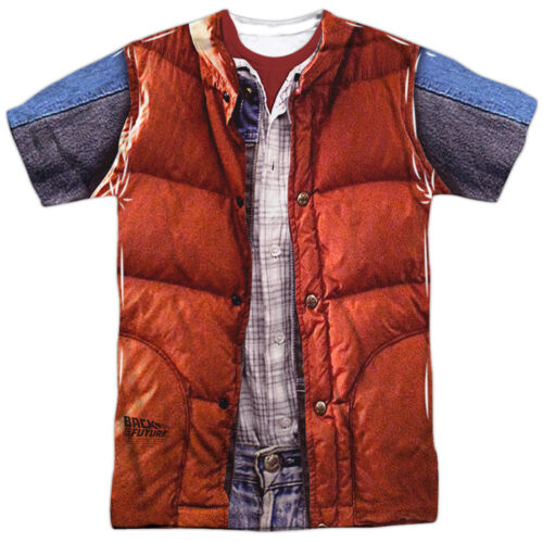 Back to the Future Movie Marty McFly Costume Big Print 1-Sided Poly Shirt S-3XL