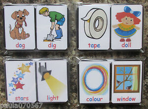 Montessori, reading/writin<wbr/>g flash cards 3,4,5,6 letter words x 36 ( 6.5 x 5 cm )