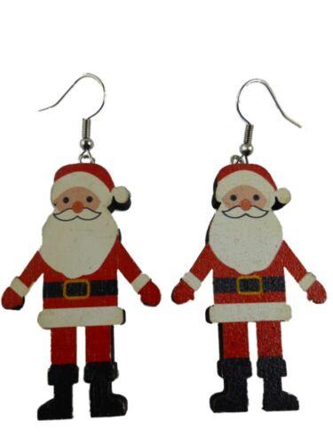 Ohrringe Ohrhänger Holz Weihnachtsmann Santa Clause Weihnachtsbaum 13.436 B NEU