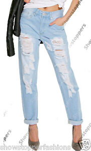 NEW Womens Distressed Ripped Denim Boyfriend Jeans Ladies Size 6 8 10 12 14 Blue
