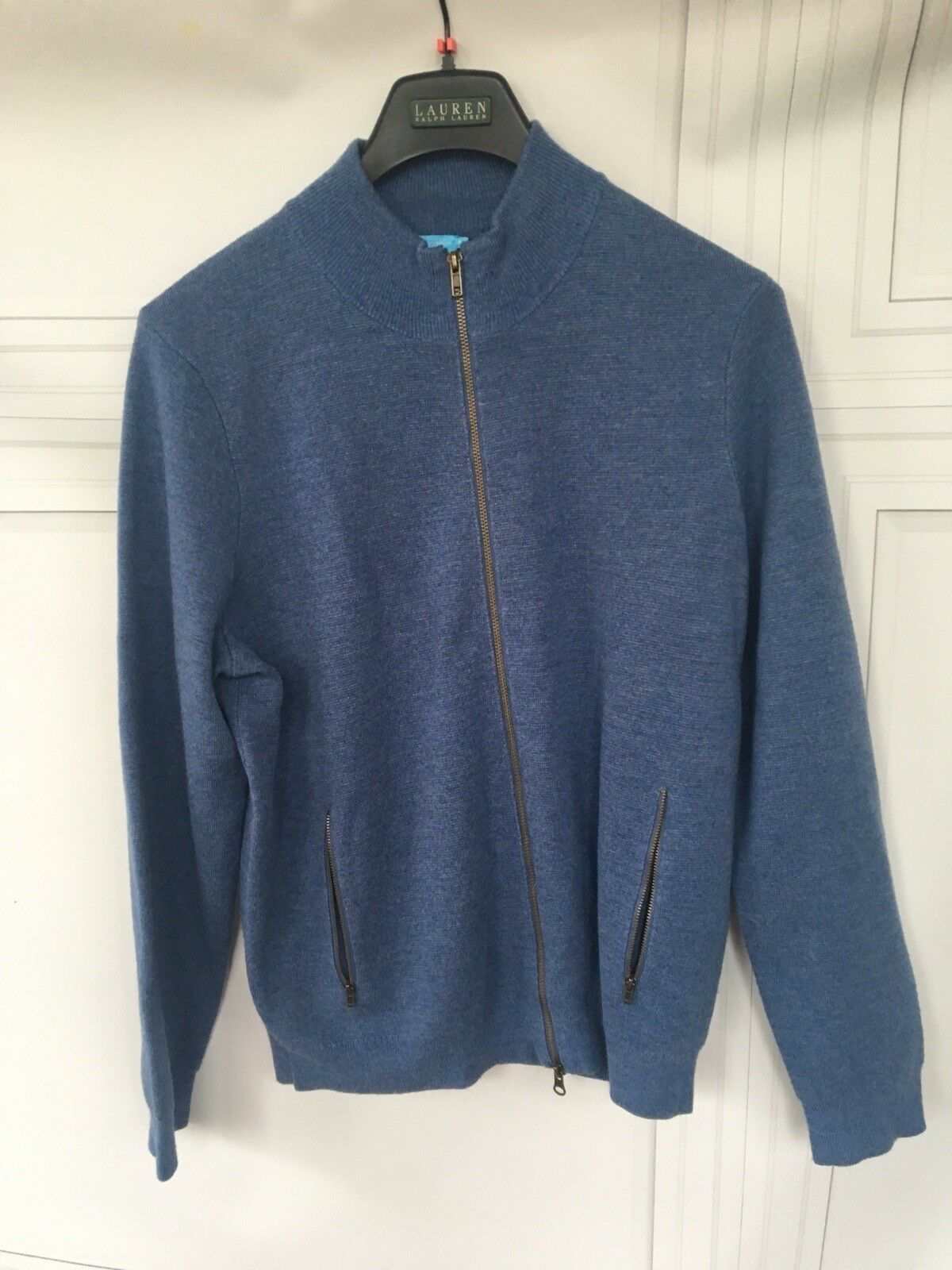 J McLaughlin  Herren Fitz Sweater in Blau Heather Sz XL