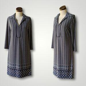 MAX STUDIO Long Sleeve Geometric Blue Dress Collar Tunic MEDIUM