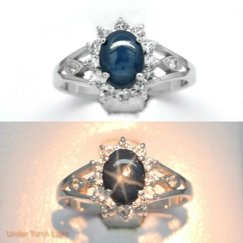 8x6mm Natural 6 Ray Blue Star-Sapphire Ring With Topaz in 925 Silver