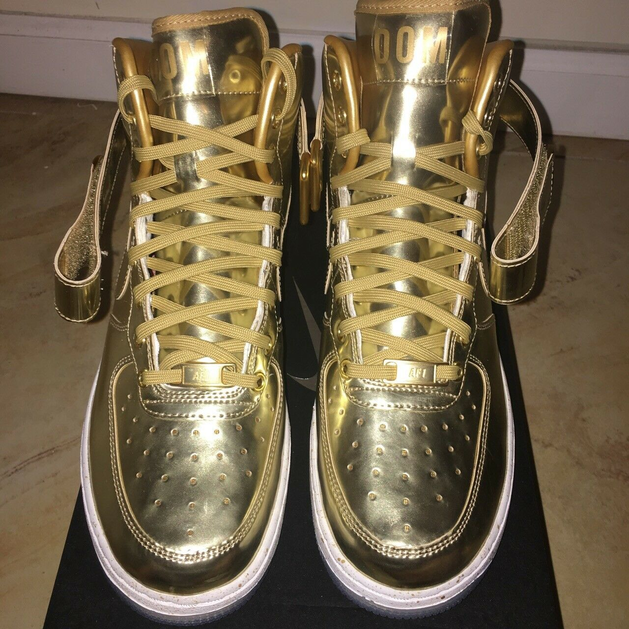 Nike ID AF1 Air Force 1 Liquid Gold Transparent Gum Sole