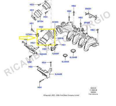 FORD FOCUS C-MAX 1.6 TDCi 110 CV Aria Turbo Collettore Di Aspirazione Tubo Tubo 1440439