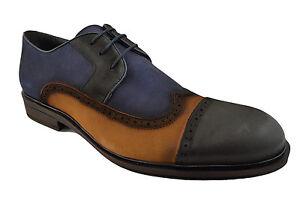 230-nukte-Bleu-Noir-Marron-En-Cuir-Bout-D-039-Aile-Cap-Toe-robe-Derbies-Homme-Chaussures