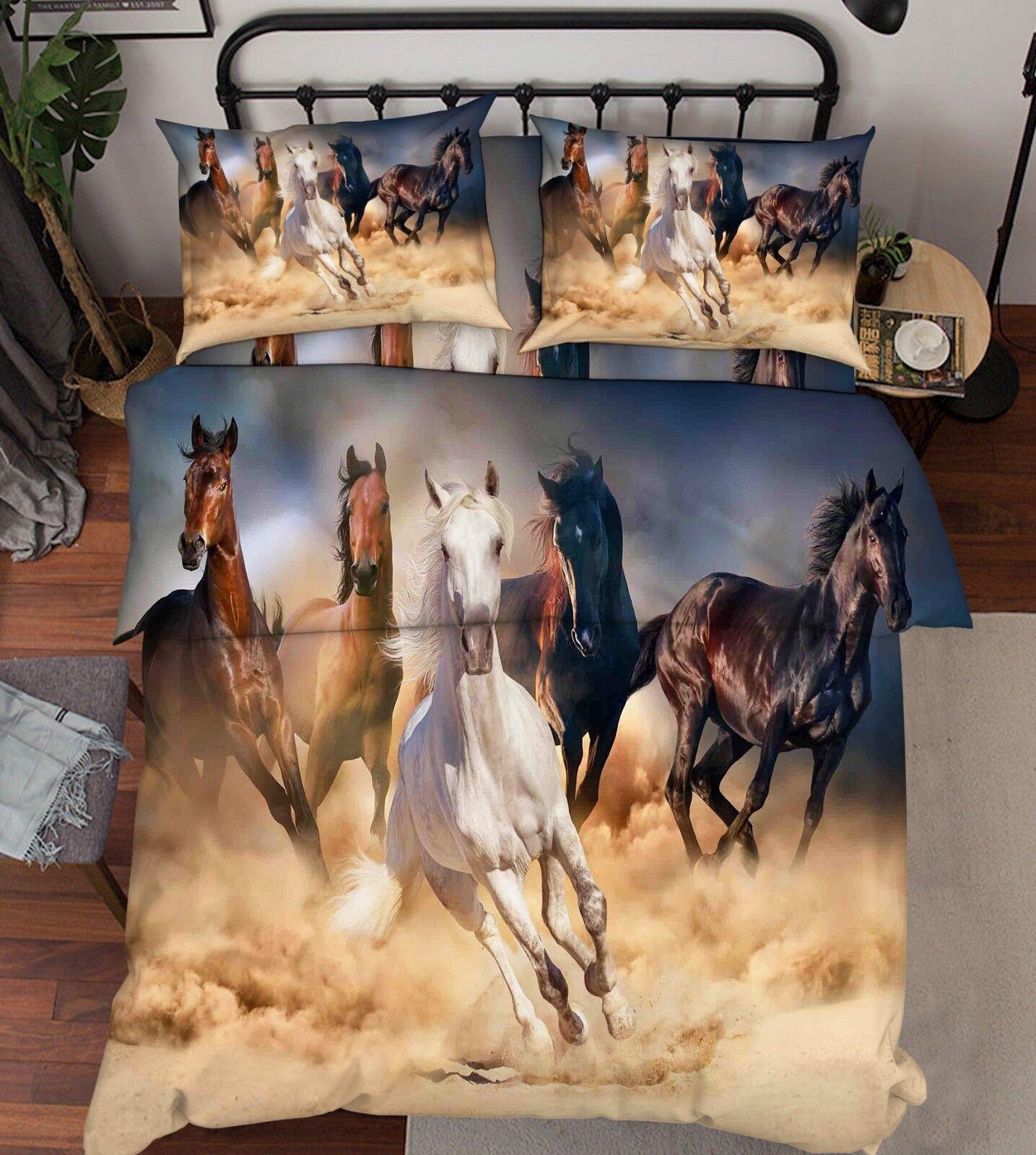 3D Land Horse 86 Bed Pillowcases Quilt Duvet Cover Set Single King UK Lemon