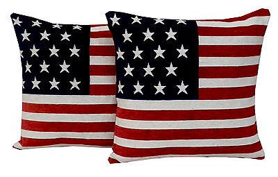 Chenille Kord Kissenbezüge / Komplettkissen USA Amerika Fahne Stars & Stripes