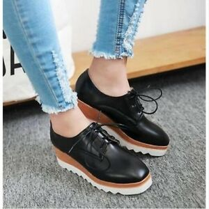 Womens-Fashion-Solid-Wedge-Mid-Heels-Platform-Lace-up-Brogue-Oxford-Punk-Shoes-M