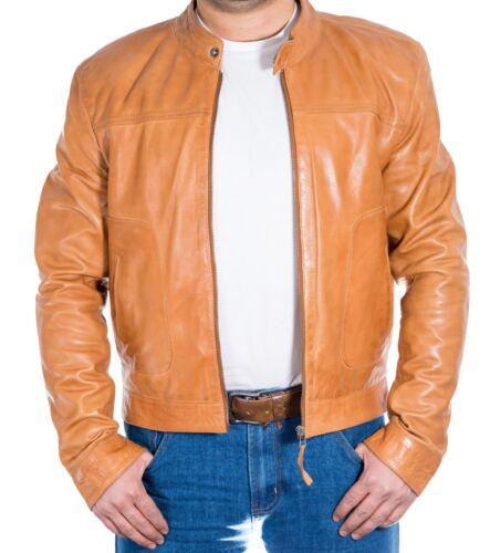homme en brun col sans clair cycliste zippée légère pour Veste de cuir gwBYq4wP