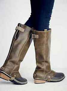 Sorel slimpack tall riding boots women 039 s waterproof leather nori
