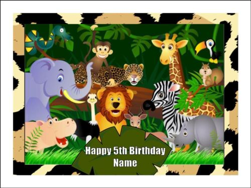 JUNGLE ANIMALS A4 Edible Icing Birthday Cake Party Decoration Topper #1