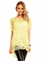 Ladies Long Tunic top Lagenlook Lace Crochet Evening Casual Size 12 14 16