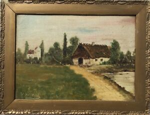 Art-Nouveau-Frame-Oil-Painting-Monogram-VM-1909-Landscape-With-Old-Kate