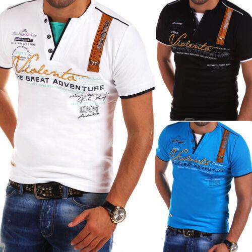 BEHYPE Hommes V-Neck T-shirt Slim Fit POLO manches courtes blanc//noir//bleu nouveau
