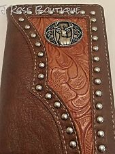 DEER DOE BROWN LEATHER LONGHORN COWBOY STUDS Mens Bifold Long Wallet Western NEW