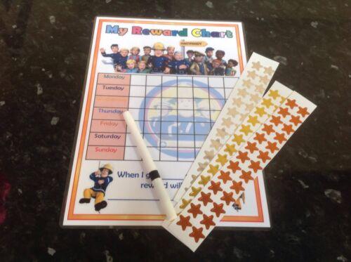 kids reward chart behaviour sticker chart fireman sam pen stickers jobs fun