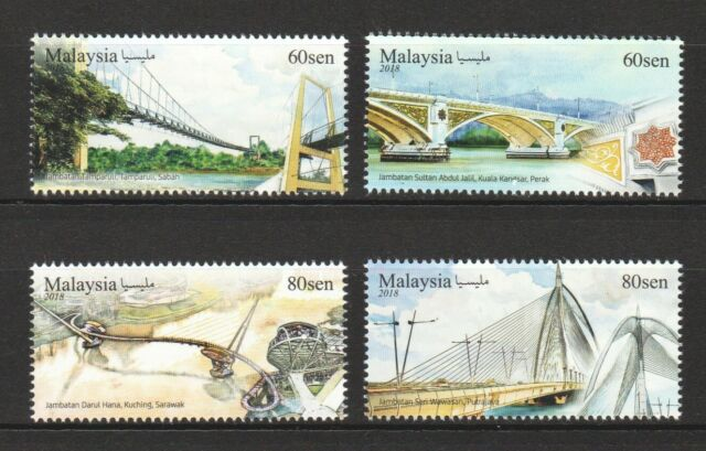 MALAYSIA 2018 UNIQUE STRUCTURE BRIDGES COMP. SET OF 4 STAMPS IN MINT MNH UNUSED