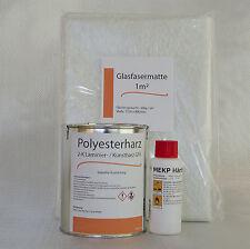 GFK SET 1 kg Polyesterharz + 20 g Härter+ 1 m² Glasmatte 300g/m²