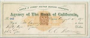 1871 Us Carreaux- Agence Banque de California W-Double Fiscaux Imprint RjgomSC0-09152431-286711333