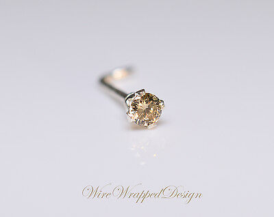 Genuine Black DIAMOND Nose Stud 2mm 0.04ct Treated Opaque 14k Gold or Silver