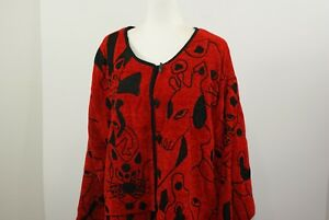 160de038377 Womens Life Style Plus Size 2XL Red   Black Embroidered Sweater ...