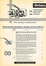 Holder Einachser E8 + E8D, orig. franz. Preisliste 1964