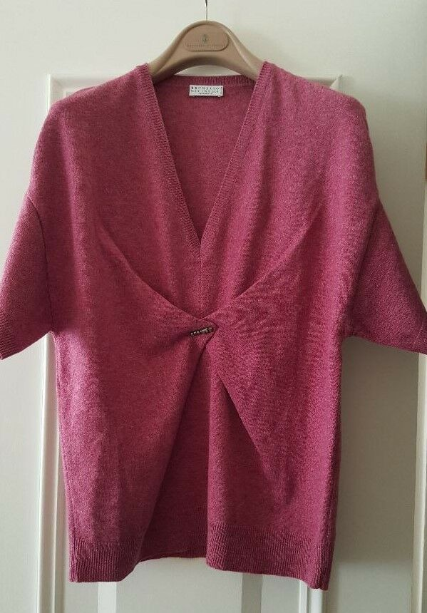 New BRUNELLO CUCINELLI raspberry marl colour wool cashmere silk sweater jumper