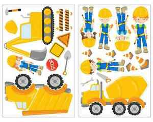 23 teiliges bagger lkw wandtattoo set kinderzimmer aufkleber baustelle sticker ebay. Black Bedroom Furniture Sets. Home Design Ideas
