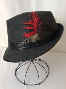 ffb143701 Details about Vtg Womens Mens Hat Fedora Trilby Feather Black Gray Medium L  XL 20s 30s 40s 50s