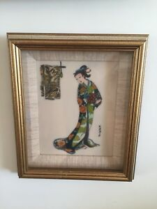 Japanese-Vintage-Engraved-Geisha-on-plastic-board-Under-Glass-Free-Shipping