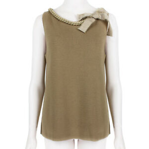 Giambattista Valli Beige Chain Neckline Top Knitwear IT44 UK12