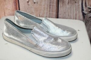 Sperry-Silver-Loafers-8-M-Women-039-s-Shoes