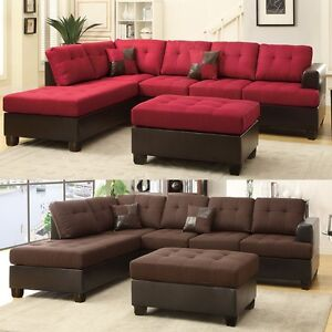 3 Pcs Large Living Room Reversible Sectional Sofa Chaise