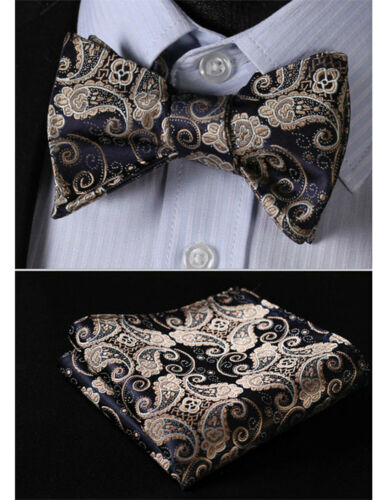 Men Bow Tie Paisley Blue Gold Navy Bowties Hanky Pre tied Wedding Silk Woven