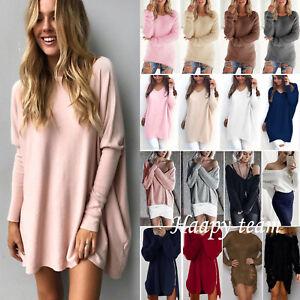 Women-039-s-Long-Sleeve-Sweater-Sweatshirt-Jumper-Dress-Pullover-Tops-Blouses-Casual